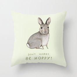 Don't Worry Be Hoppy Throw Pillow