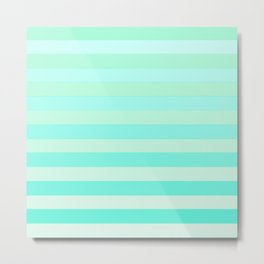 Green Teal Stripe Fade Metal Print