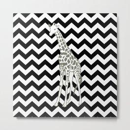 Black Safari Chevron with Pop Art Giraffe Metal Print