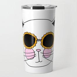Cat Sunflower Glasses Travel Mug