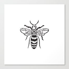 Linocut bee minimal nature insect printmaking black and white bees wasps Canvas Print