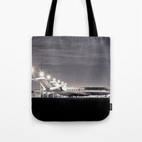 airplane Tote Bags featuring Airplane by Marose Photo