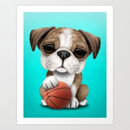 British Bulldog Puppy Playing With Basketball Art Print