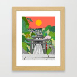 Passage to Light - Miyajidake Shrine Framed Art Print
