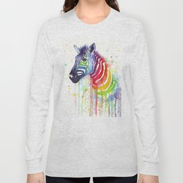 Zebra Watercolor Rainbow Animal Painting Ode to Fruit Stripes Long Sleeve T-shirt