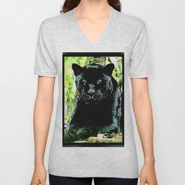 Big Cat Models: Green Eyed Black Panther Unisex V-Neck