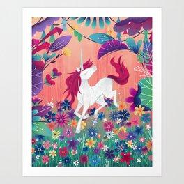 Floral Frolic Unicorn Art Print