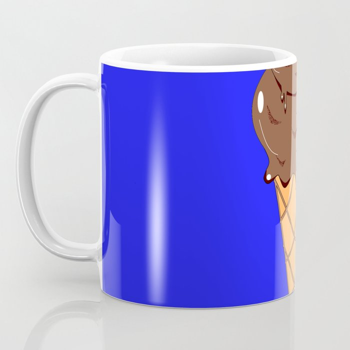 A Chocolate Ice Cream Cone with Blue Background, Summer Fun Coffee Mug