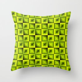Fashionable large glare from small yellow intersecting squares in gradient dark cage. Throw Pillow