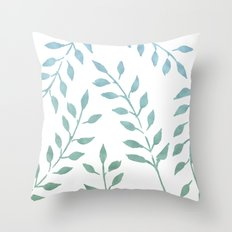 Garden Leaves Turquoise Mint Green Throw Pillow