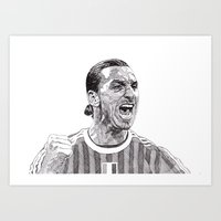 zlatan Art Prints featuring Zlatan by Rik Reimert