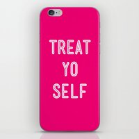 parks and recreation iPhone & iPod Skins featuring Treat Yo Self Pink- Parks and Recreation by Sandra Amstutz