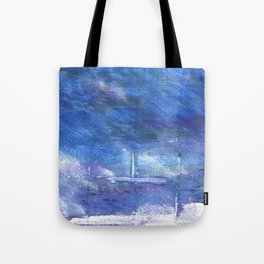 Chinese blue abstract watercolor Tote Bag