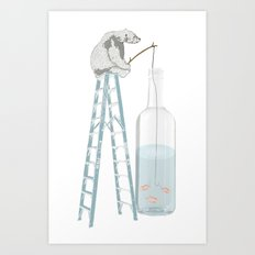 Polar Bear Fishing from a Bottle Art Print