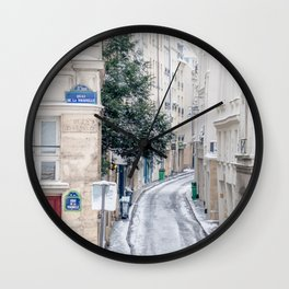 Snowy Latin Quarter in Paris France Wall Clock