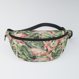 Flamingo in jungle. Watercolor tropical leaves and birds pattern Fanny Pack