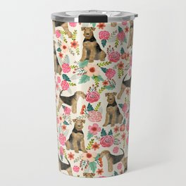 Airedale Terrier dog pattern dog breed pet portrait by pet friendly Travel Mug
