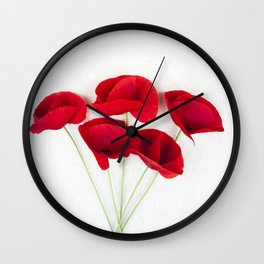 a Bunch Of Red Poppies Wall Clock