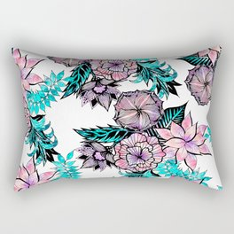 Girly Pink Teal Watercolor Floral Illustrated Pattern Rectangular Pillow