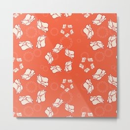 Poppy Pattern Collection - Red Background & Cream Flowers Metal Print