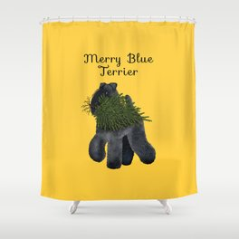 Merry Blue Terrier (Yellow Background) Shower Curtain