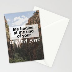 Life begins at the end of your comfort zone. Stationery Cards