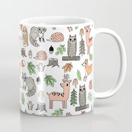 Woodland foxes rabbits deer owls forest animals cute pattern by andrea lauren Coffee Mug
