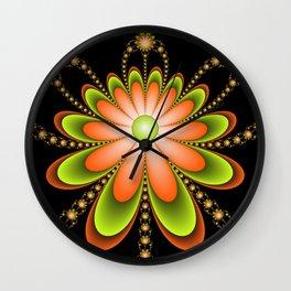 Orange Green Flowers Decoration, Fractal Art Wall Clock