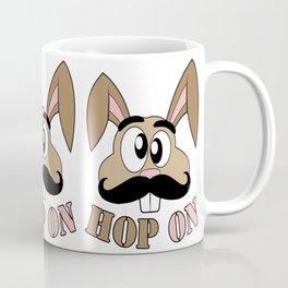 Funny Mustache Rabbit Hop On Coffee Mug