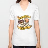 mew V-neck T-shirts featuring A Mew Hope by Miski