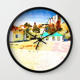 L'Aquila: buildings, prefabricated and curtains Wall Clock