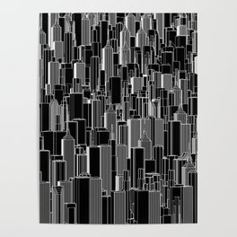 Tall city B&W inverted / Lineart city pattern Poster