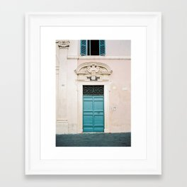 Blue wooden door in Rome | Italy | Wanderlust travel photography pastel Framed Art Print