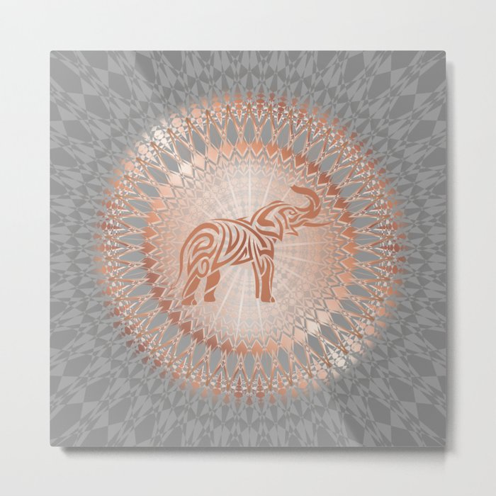 Rose Gold Gray Elephant Mandala Metal Print