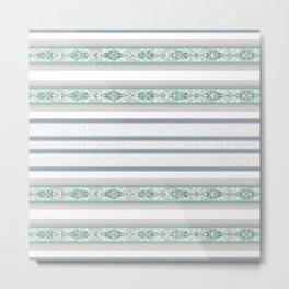 Decorative Teal Grey Stripe Pattern Metal Print