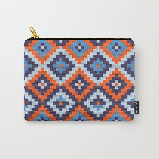 Aztec pattern - orange, blue Carry-All Pouch