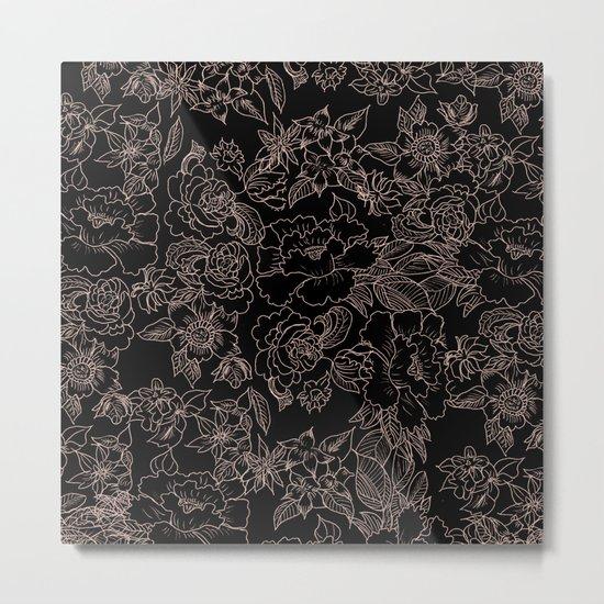 Pink coral tan black floral illustration pattern Metal Print