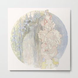 Bluebells and Hollyhocks girdle the earth Metal Print