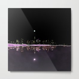 Moonlight In The City Skyline Design Metal Print