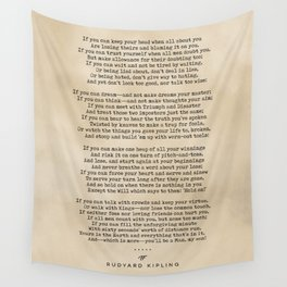 Rudyard Kipling, If - Typewriter Quote On Old Paper - Literary Poster - Book Lover Gifts Wall Tapestry