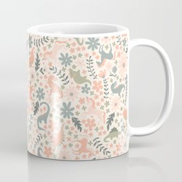 Floral Burst of Dinosaurs and Unicorns in Pink + Green Coffee Mug
