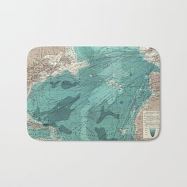 Vintage Green Transatlantic Mapping Bath Mat