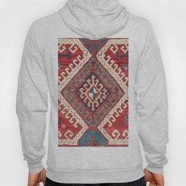 White Hooked Diamond // 19th Century Authentic Simple Colorful Aztec Accent Pattern Hoody