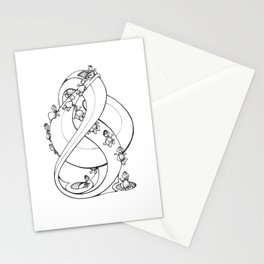 Perpetual Turtles - Doodle art of Turtles slipping down a perpetual sculpture Stationery Cards