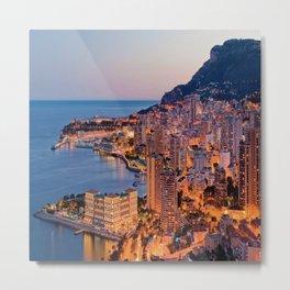 Monaco Evening Glow Metal Print