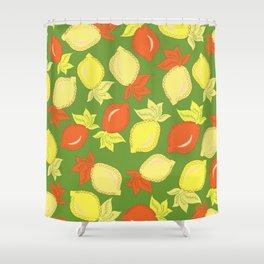 Tumbled Lemons Pattern Shower Curtain