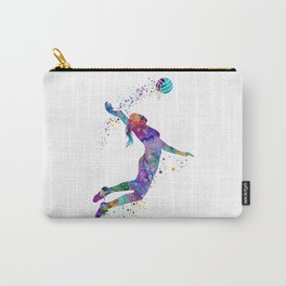 Volleyball Girl Colorful Blue Purple Watercolor Artwork Carry-All Pouch