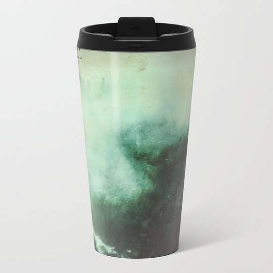 Morning dust on Mountains - Forest Wood Tree Metal Travel Mug