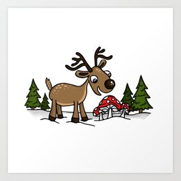 Reindeer Munches Magic Mushrooms Art Print
