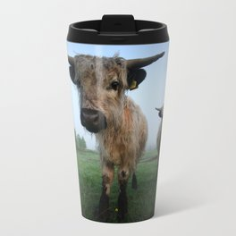 Young White High Park Cattle Travel Mug